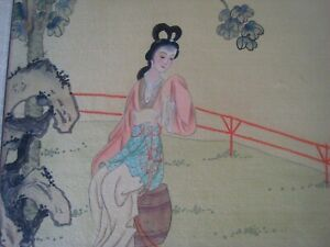 Vintage Antique Hand Painted Chinese Art Signed 16 X 14 In C 4
