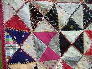 Antique Crazy Quilt Patchwork Silk Embroidery Featherstitch Hand Stitched 70x71