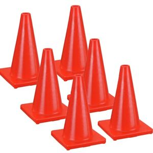 6 New 17 Red Wide Body Road Safety Cones Construction Traffic Sports Pvc Cone