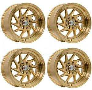 15x8 F1r F07 4x100 4x114 3 25 Machine Gold Wheels Rims Set 4