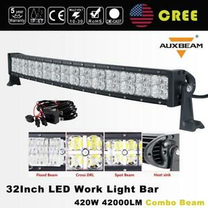 32 420w Curved Cree Led Light Bar Cross Drl Combo Offroad Driving Truck 4wd 30