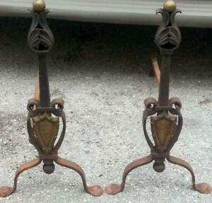 Antique Mission Wrought Iron Fireplace Andirons Set Tools Arts Crafts Brass