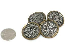 4pc Antique Cattail Butterfly Metal Button Lot