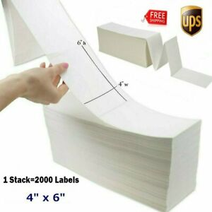 Fanfold 4 x6 Direct Thermal Shipping Perforated Adhesive Label Zebra 2844 Blank
