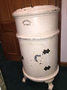 Antique White Frost 325 Tall Round Ice Box Refrigerator With Lazy Susan Rare Pu