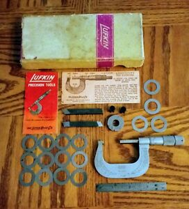 Vintage Lufkin Usa 1 2 Micrometer No 1612 With Ruler Rex Aaa Bits And More
