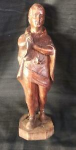 Antique Wood Wooden Carving Carved Man Statue Hunter Powder Horn Soldier Male