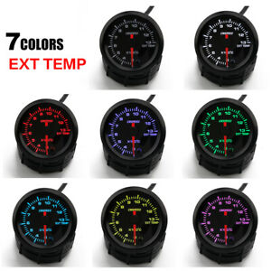2 52mm Car Exhaust Gas Temp Gauge 7 Colors Led Pointer Egt Temperature Meter