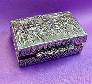 Antique Sterling Silver Medicine Box With Engravings