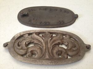 Antique Cast Iron Empire Crawford Ornamental Cover Plate Or Stove Part