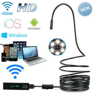 Wireless Endoscope Wifi Borescope Inspection Camera For Iphone Android 5m 8led