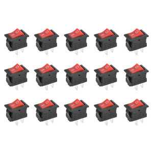 Mini Boat Rocker Switch Red Toggle Switch 2pins On off Ac 250v 3a 125v 6a 15pcs
