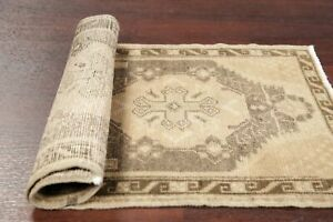 Muted 2 X 3 Vintage Geometric Turkish Oushak Foyer Rug Distressed Hand Knotted
