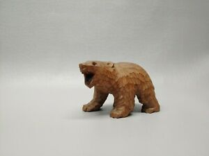 Vintage Wooden Wood Brown Bear Figure Carved 4