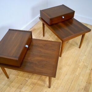 American Of Martinsville Walnut End Side Tables Pair Mid Century Modern Mcm 2