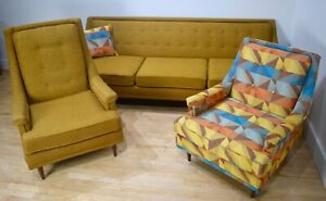 1950s Living Room Set Yellow Gold Sofa Couch Chairs Mid Century Modern Mcm