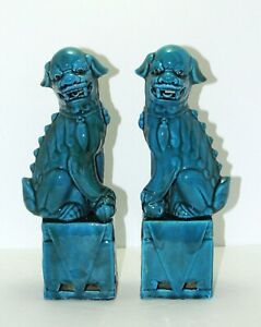 Beautiful Ceramic Chinese Foo Dogs Peacock Blue 12 Inches Height