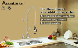 Commercial Pre rinse Faucet W 12 Add on Wall Mount Faucet Mixer Tap Dishwasher