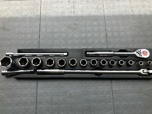 Snap On Tools 18 Pc 1 2 Drive 6 Point Sae General Service Socket Set