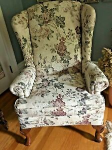 Queen Anne Style Upholstered Wing Back Chair