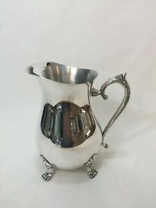 Leonard Silver Plate Pitcher Moustache Ice Guard 4 Toe Footed 8 1 2 Tall