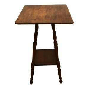 Antique 1900 S Parlor Table 16 Square Spindle Beehive Leg Shabby Oak Victorian