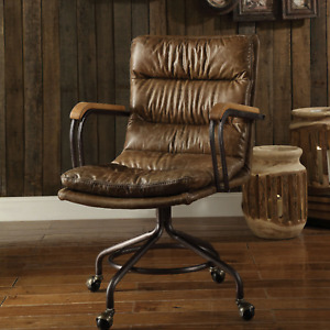 Leather Executive Office Desk Chair Brown Ergonomic Ceo Lounge Swivel Furniture