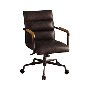 Leather Executive Office Desk Chair Brown Comfortable Swivel Computer Lounge