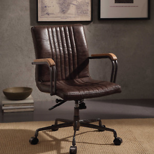 Leather Executive Office Cabinet Chair Vintage Brown Luxury High Back Task