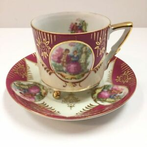 Vintage Rare Royal Sealy China 3 Footed Cup Saucer Dancing Courting Couple
