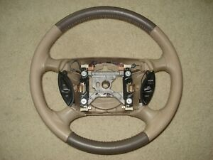 Ford Mustang 1999 04 Two Tone Leather Steering Wheel W Switches Oem Tan