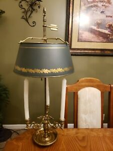 Vintage Chapman Brass Bouillotte Tole Shade 3 Swans Candle Base Table Lamp