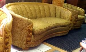 Vintage Hollywood Regency Sofa And Matching Barrel Chairs Gold Green Club Mcm
