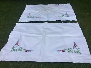 Pair Antique White Floral Hand Embroidered Linen Pillowcases Pillow Slip X 2