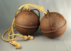 Antique Pair Maritime Iron Metal Floats Fishing Net Trawlers Mooring Buoys