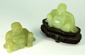 Antique Chinese Carved Jade Laughing Buddha Figurines Seated Carved Wooden Stand