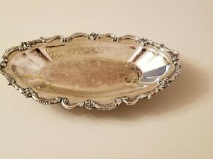 Antique Silver Plated Copper Footed Serving Dish Oval