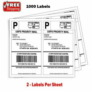 1000 Shipping Address Labels 8 5x5 5 Half Sheet Self Adhesive Laser Inkjet Usps