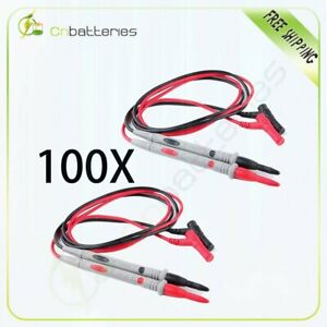 100 Pvc Sets 1000v 20a Banana Plugs Detachable Tip Probe Test Lead Bk Red