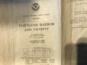 Vintage 1979 Noaa Nautical Chart Us East Coast Maine Portland Harbor Wall Size