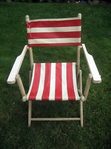 Vintage Antique Folding Wood Deck Patio Lawn Chairs Seat Beach Red White