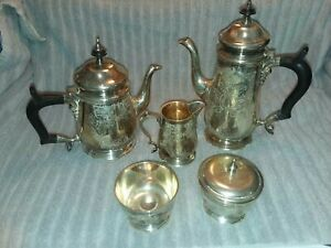 Vintage Eales 1779 Hand Chased 5 Piece Coffee Tea Set E P N S Museum Piece