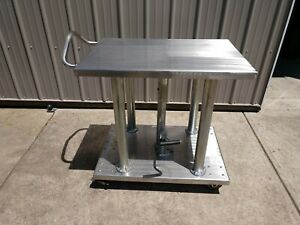 Vestil Heavy duty Stainless Hydraulic Post Lift Table 2000 Lb 36 X 24