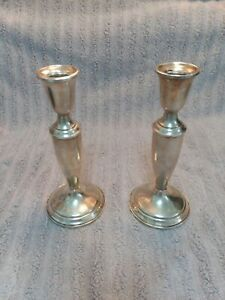 Vintage Towle 7 1 2 Marked Weighted Sterling Silver 925 Candle Holders 780g
