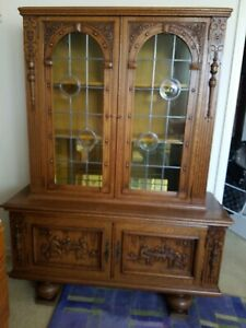 Antique French Breton Mahogany Oak Cabinet China Display Bookcase Stained Glass
