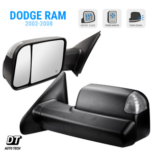 Tow Mirrors 2002 08 Dodge Ram 1500 Power Heated Glass Led Signal Tow Side