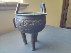 Old Small Bronze Chinese Ding Incense Burner