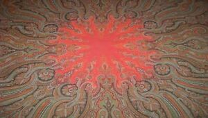 Rare Antique Kashmir Paisley Tapestry Shawl Cloth W Red Center