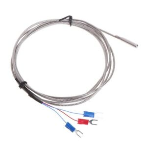 Rtd Pt100 Temperature Sensor Thermocouple With 2m 3 Cable Wires Stainless Steel