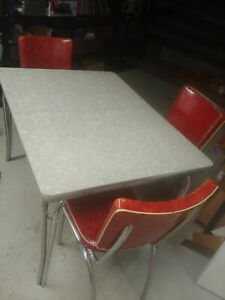 Vintage Retro Chrome Formica Kitchen Table 6 Chairs W Integrated Leaf 1950 S